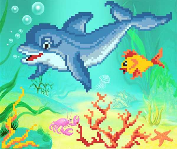 4070 Дельфин - рисунок на шелке (МП)