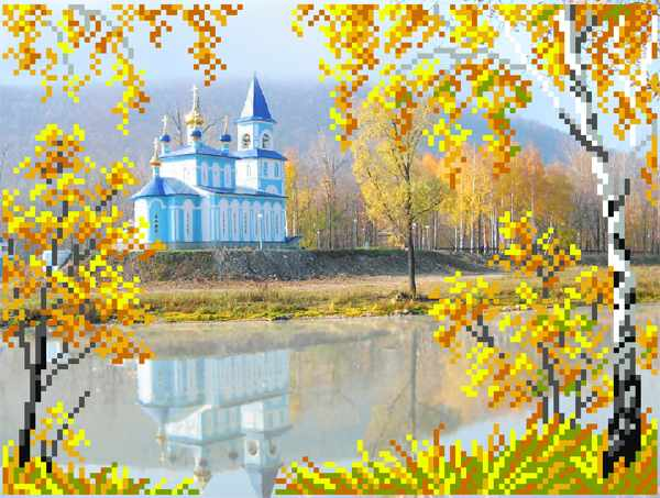4113 Церковь рисунок на шелке (МП)
