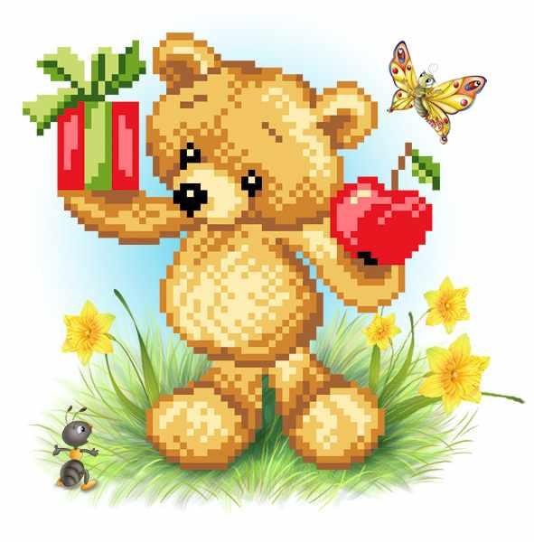 4140 Мишка Весы - рисунок на шелке (МП)