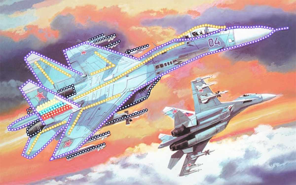 4167 ВВС России - рисунок на шелке (МП)