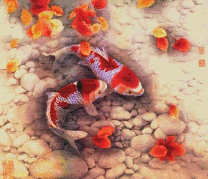 4189-14 Цветные карпы (Белоснежка)