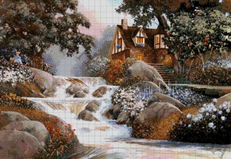 43-3479-НД Домик у водопада - набор для вышивания (А. Токарева)