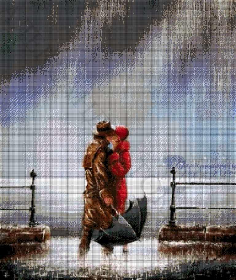 45-3111-НП Поцелуй под дождем - набор для вышивания (А. Токарева)