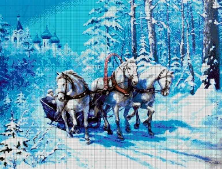 45-4088-НР Русская тройка - набор для вышивания (А. Токарева)