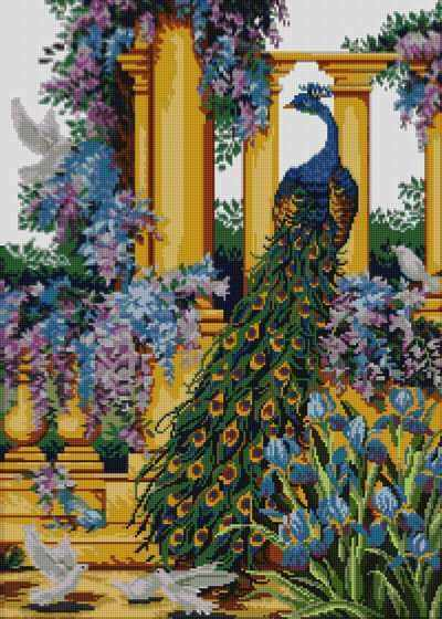 50060 Павлин в райском саду - мозаика Anya