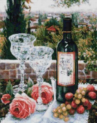 50102 Вино и хрустальные бокалы - мозаика Anya