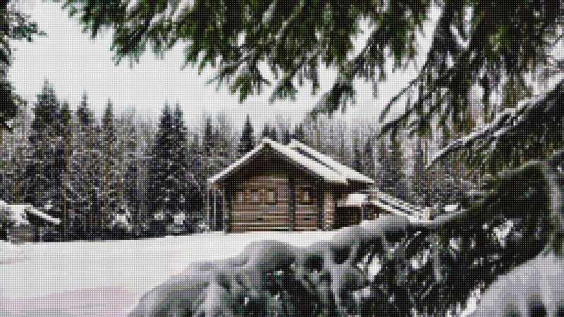 50158 Дом в зимнем лесу - мозаика Anya