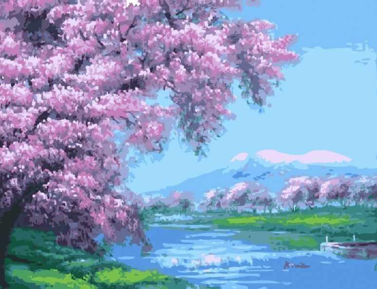 509-CG Весеннее цветение - раскраска (Белоснежка)