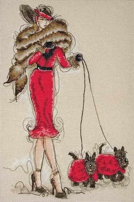 5678-1032 Дама в красном с терьерами MAIA