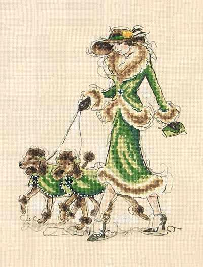 5678-1070 Дама в зелёном с пуделями MAIA