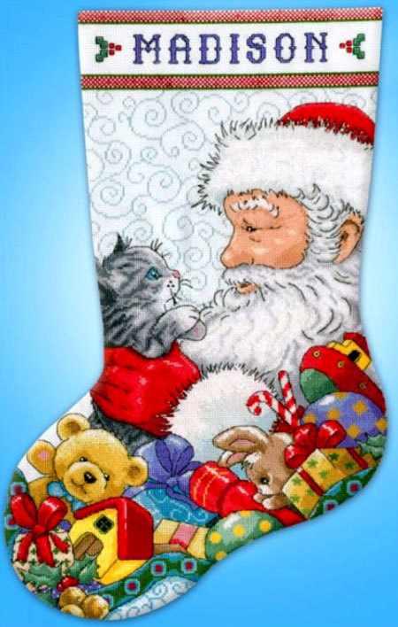 5973 Санта с котёнком (Design Works)