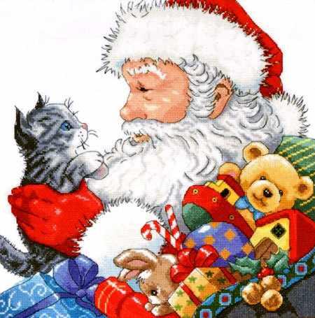 5977 Санта с котёнком (Design Works)