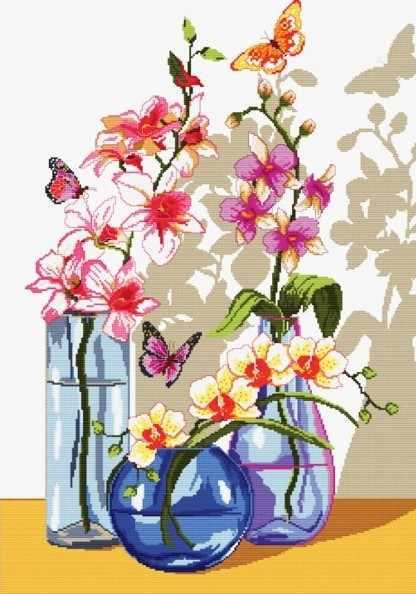 6055-14 Орхидеи и бабочки (Белоснежка)