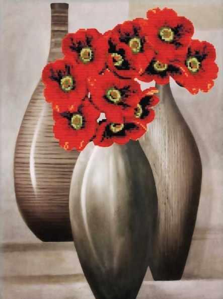 7019-3D Красные цветы (Белоснежка)