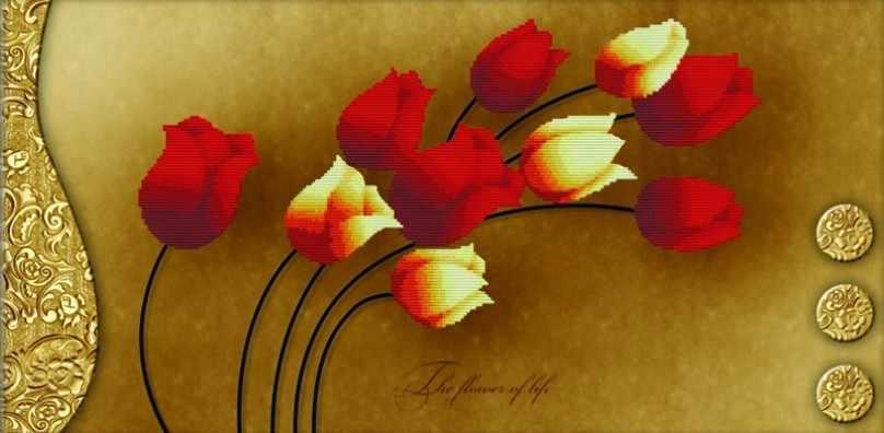 7042-3D Тюльпаны на золотом (Белоснежка)