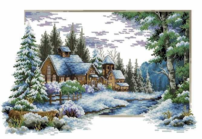 71033,38 Зимний пейзаж - мозаика Anya