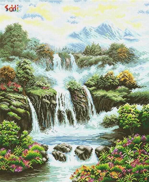 71044,31 Водопад в лесу - мозаика Anya