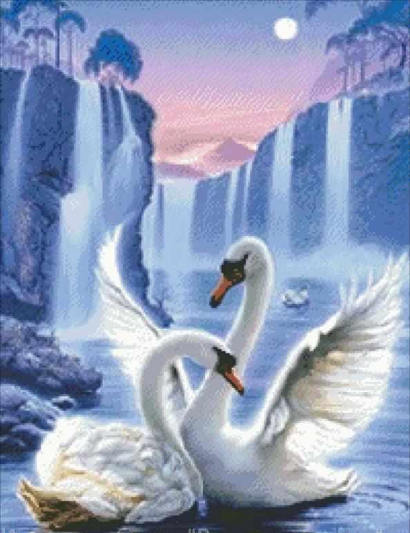 71066,11 Лебединая верность - мозаика Anya