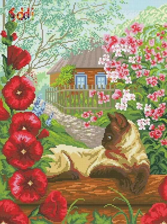 71069,10 Кошка среди цветов - мозаика Anya