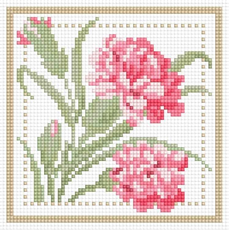 71085,21 Розовые цветы - мозаика Anya