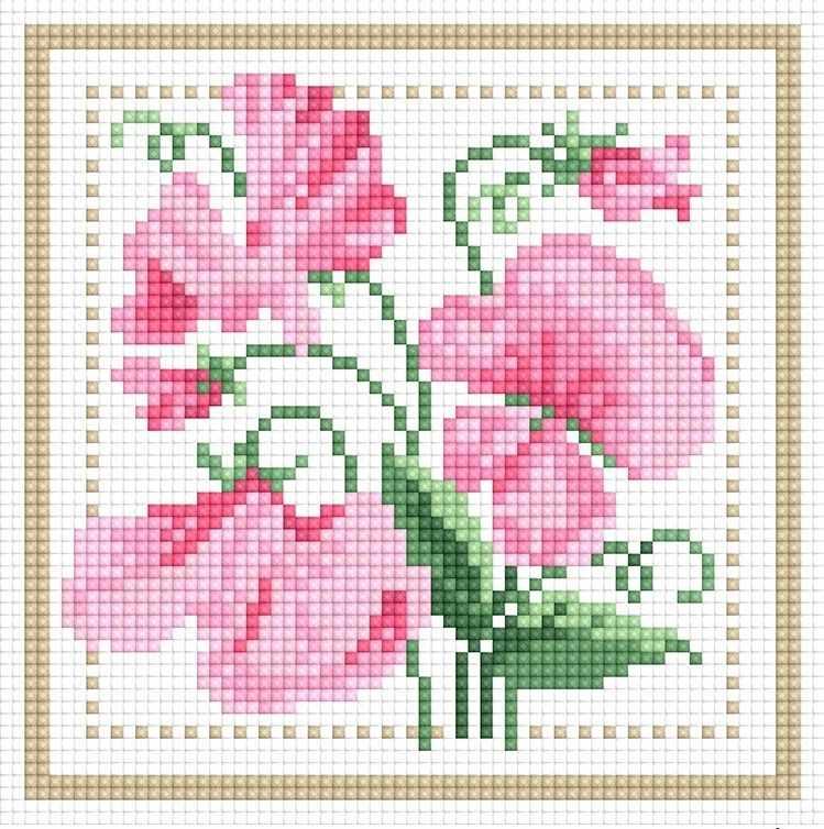 71085,24 Розовые цветы - мозаика Anya