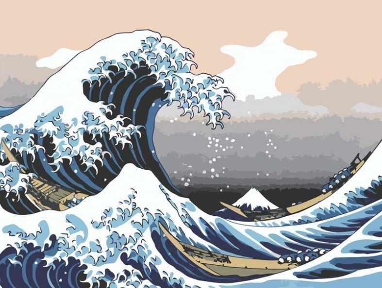 730-AS Большая волна - раскраска (Белоснежка)
