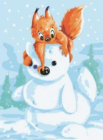 733-AS Белка и снеговик - раскраска (Белоснежка)