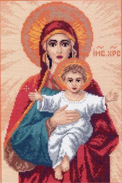 756 Мадонна с младенцем - рисунок на канве (МП)