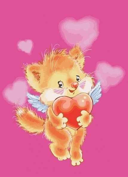 761-AS Котёнок с сердечками (Белоснежка)