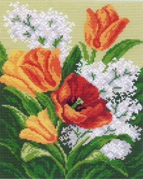 769 Первые цветы - рисунок на канве (МП)