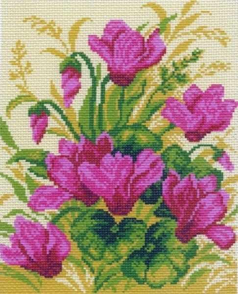 770 Цикламен - рисунок на канве (МП)