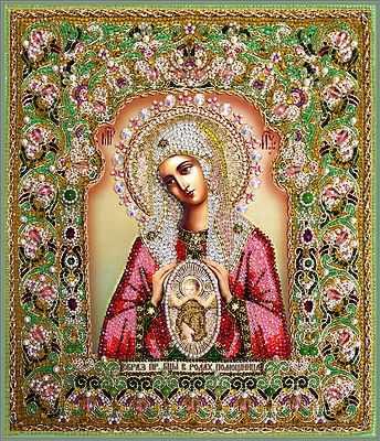 """7737 Богородица Помощница в родах (храмовая икона) """"Образа в каменьях"""""""