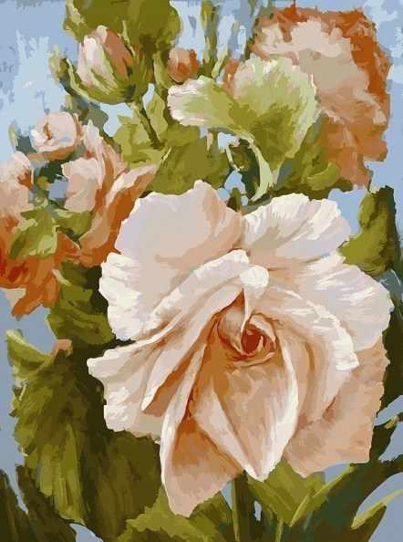 781-АS Роза - раскраска (Белоснежка)