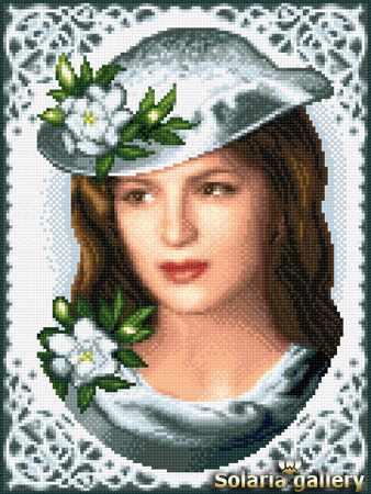 8112-31 Девушка с гардениями - бумажная схема