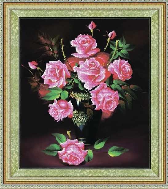 8341 Букет розовых роз - мозаика Anya