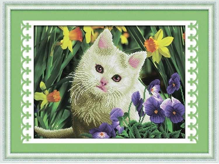 8437 Кот в цветах - мозаика Anya
