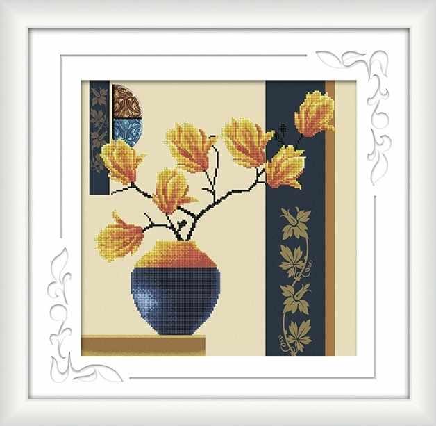 8540 Оранжевые цветы - мозаика Anya