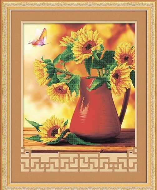 8574 Подсрлнухи и бабочка - мозаика Anya