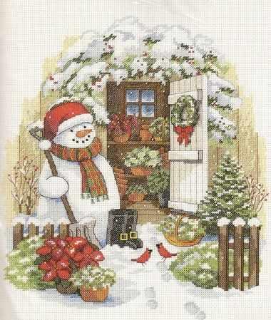 8817-DMS Garden Shed Snowman