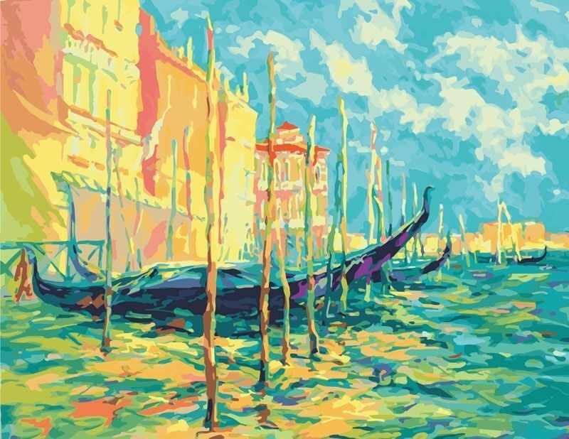 897-АВ Стоянка гондол. Венеция - раскраска (Белоснежка)