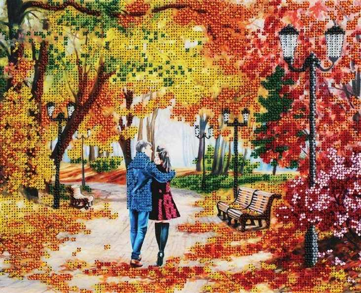 9042-CM Осенний парк, скамейка (Белоснежка)