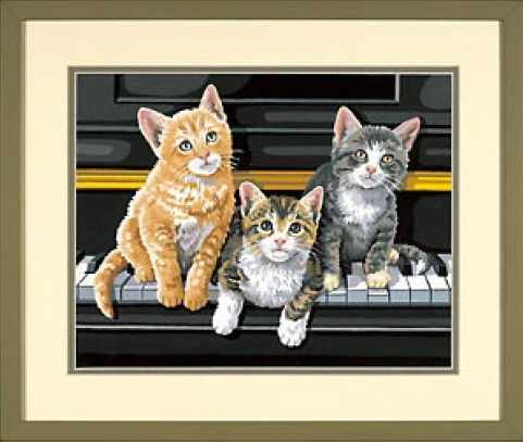 """91144 DMS """"Котята на пианино"""" - раскраска"""