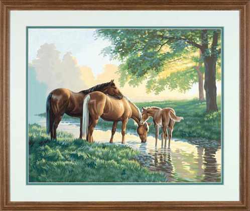 """91159 DMS """"Лошади у ручья"""" - раскраска"""