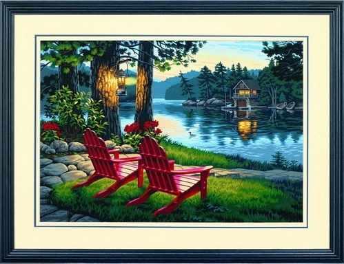 """91357 DMS """"Вечер, удобные кресла, горный массив Адирондак"""" - раскраска"""