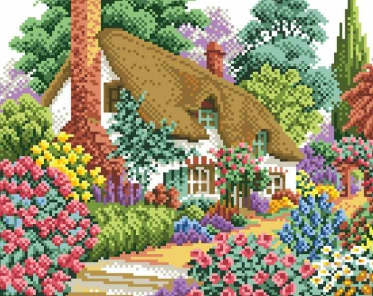080-ST Дом в саду - мозаичная картина (Белоснежка)