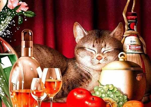 Ag448 - Счастливый кот - мозаика