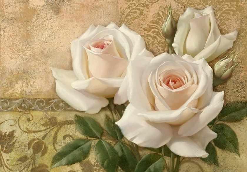 Ag5857 - Белые розы - мозаика