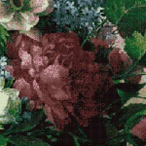 АК-708 Триптих Букет мая - Пион Бордо - канва (Золотой Восход)