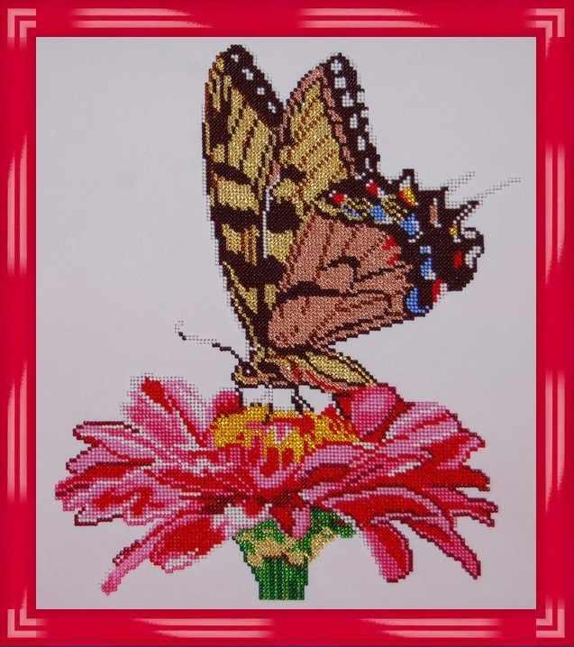 Б-3113 - Бабочка на цветке-1 - схема (Алёшкина любовь)