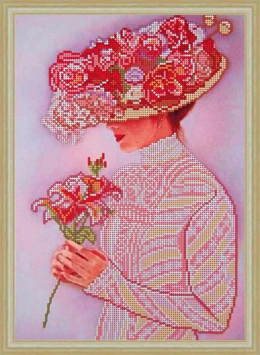 Б-3134 - Дама с цветком - схема (Алёшкина любовь)
